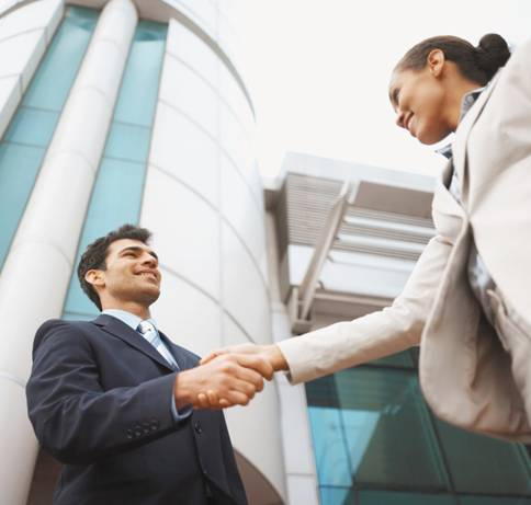 Business handshake: having reached an agreement